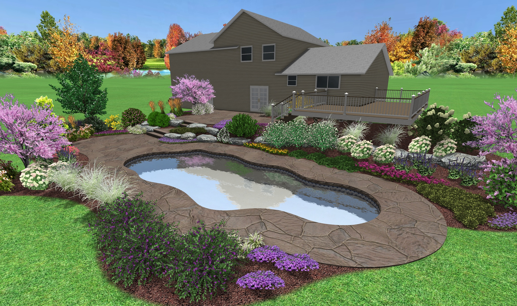 15 pool landscaping pictures hobbylobbys backyard swimming for Custom landscape design