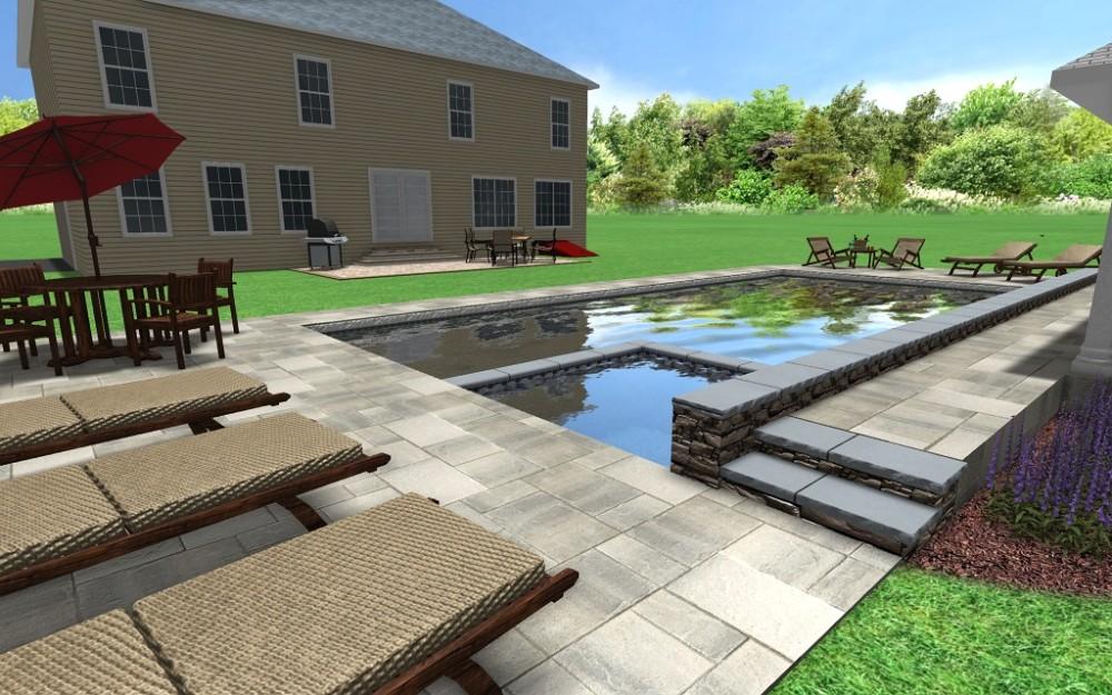 Rectangular 3d fronheiser pools for 200 sq ft deck