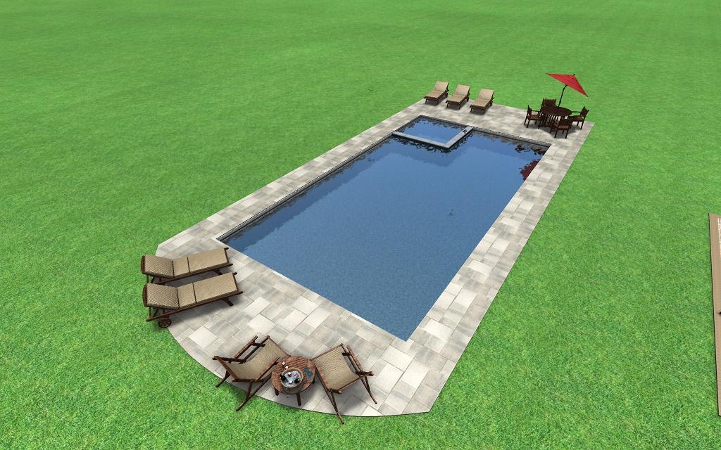 Rectangular 3d fronheiser pools for Pool deck design tool