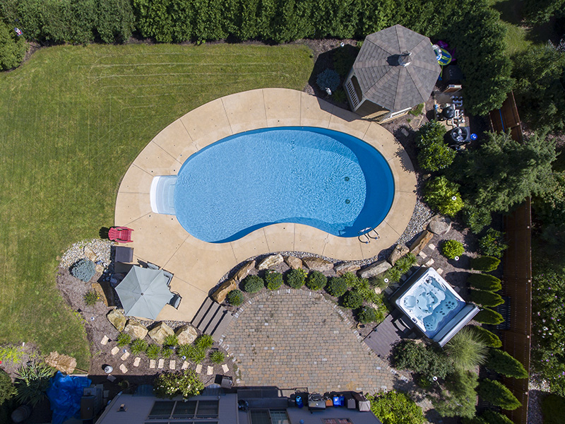 Curved Pool With Gazebo And Hot Tub Fronheiser Pools