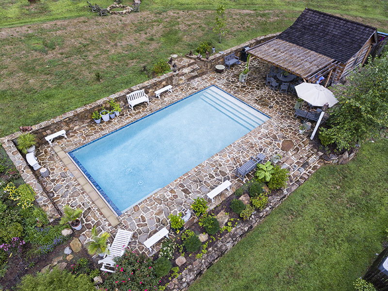 beautiful stone work - Rectangle Pool Aerial View