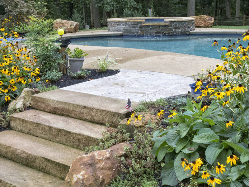 Stone steps to pool and hardscape