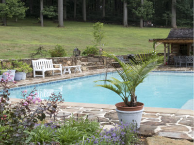 Large pool with stone deck