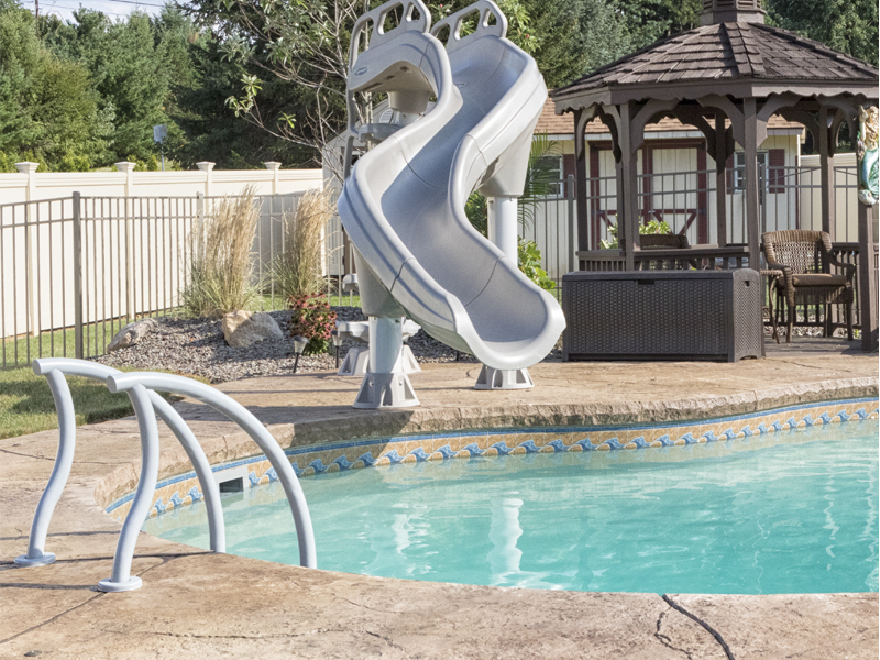 Slide on freeform design pool