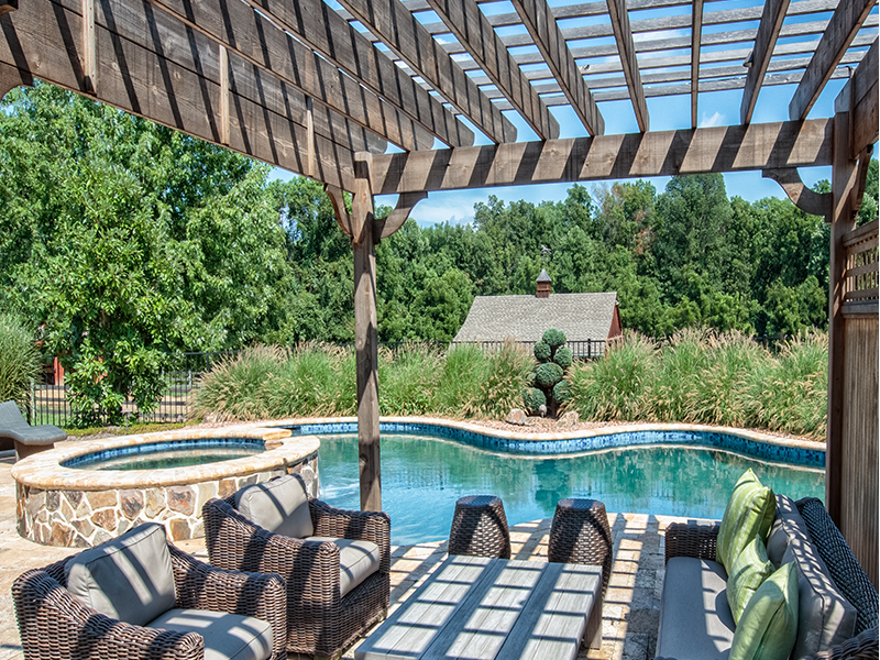 Pergola with pool & raised spa