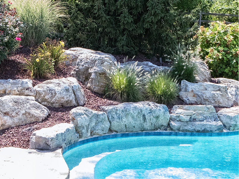 Rockscape around pool