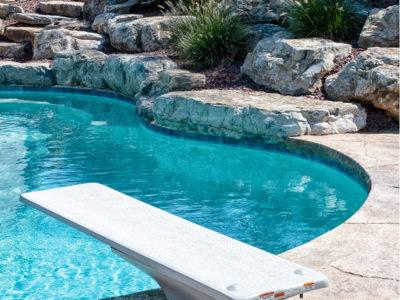 Diving pool with rock landscaping